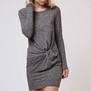 Topshop gray bodycon long sleeve dress size 6